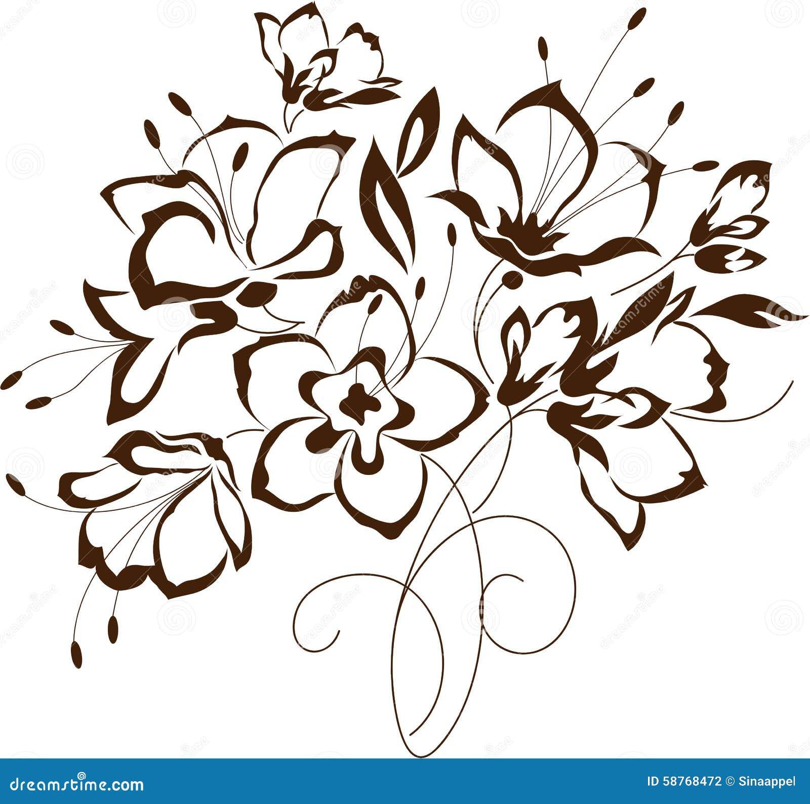 Fiori Stilizzati.Progettazione Floreale Mazzo Dei Fiori Stilizzati Illustrazione