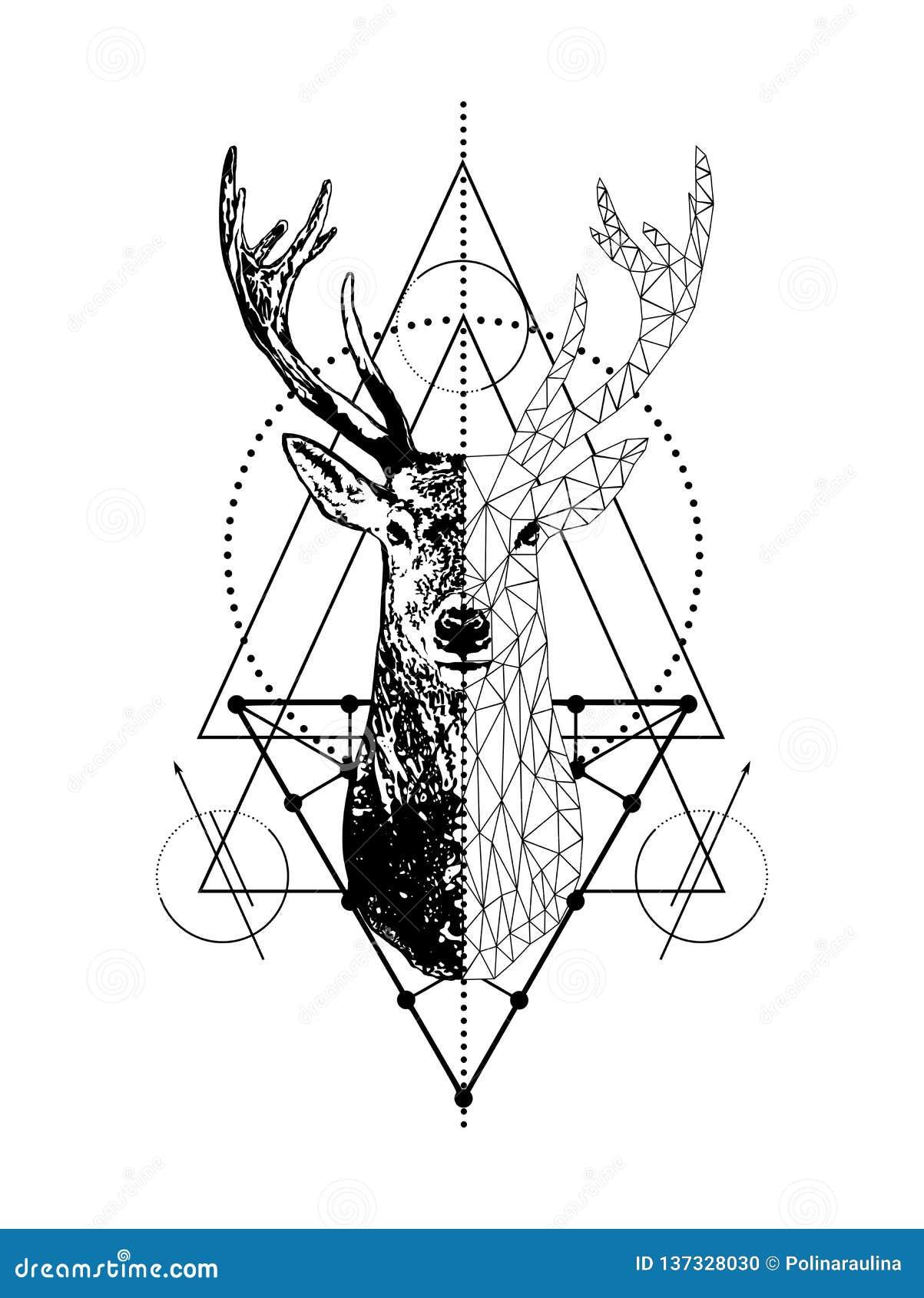 Progettazione geometrica creativa di stile di arte del tatuaggio dei cervi di vettore Poli testa bassa dei cervi con il triangolo