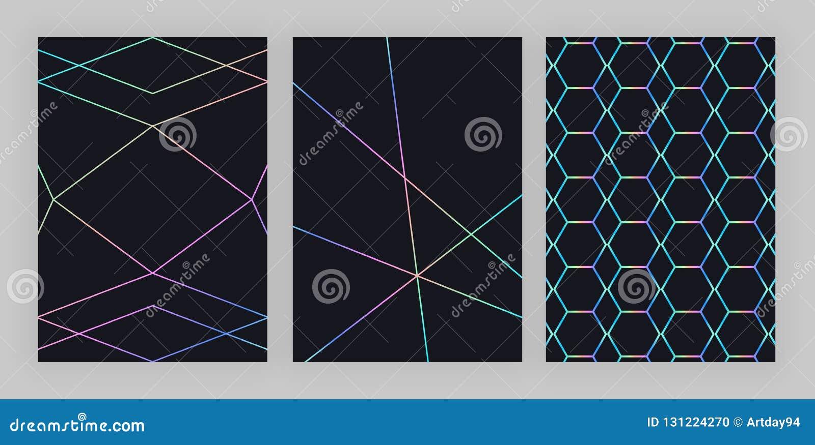 Progettazione geometrica olografica d avanguardia fissata Linee poligonali variopinte sui precedenti neri Modello moderno per l a