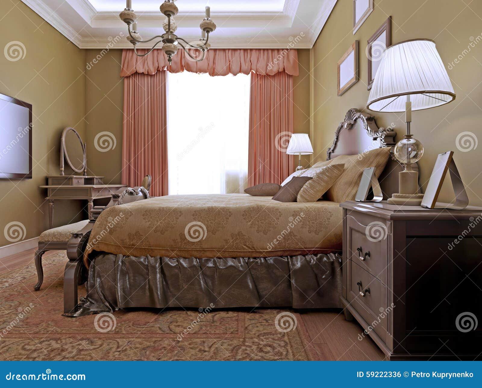 Progettazione inglese classica della camera da letto fotografia