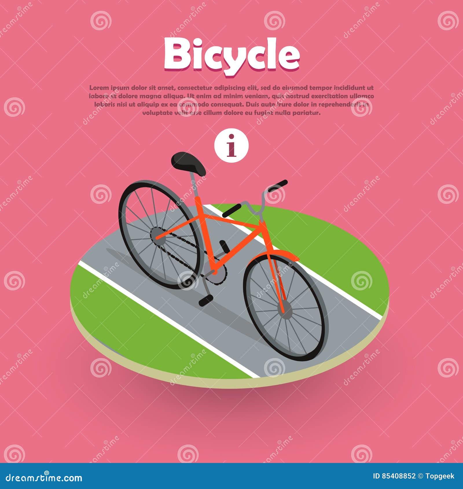 Progettazione isometrica dell icona della bicicletta sull insegna di web della strada