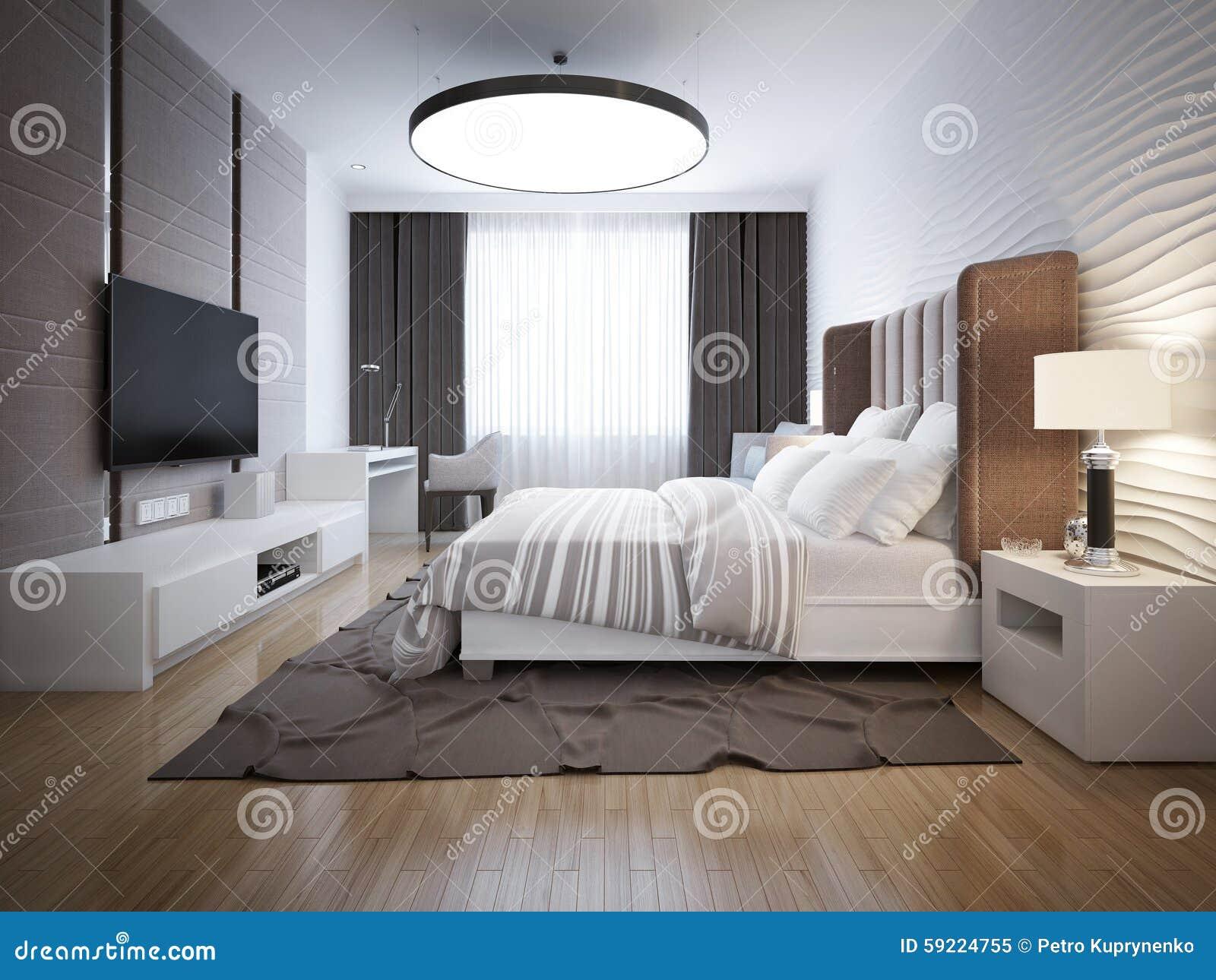 Progettazione luminosa della camera da letto contemporanea - Stanza da letto contemporanea ...