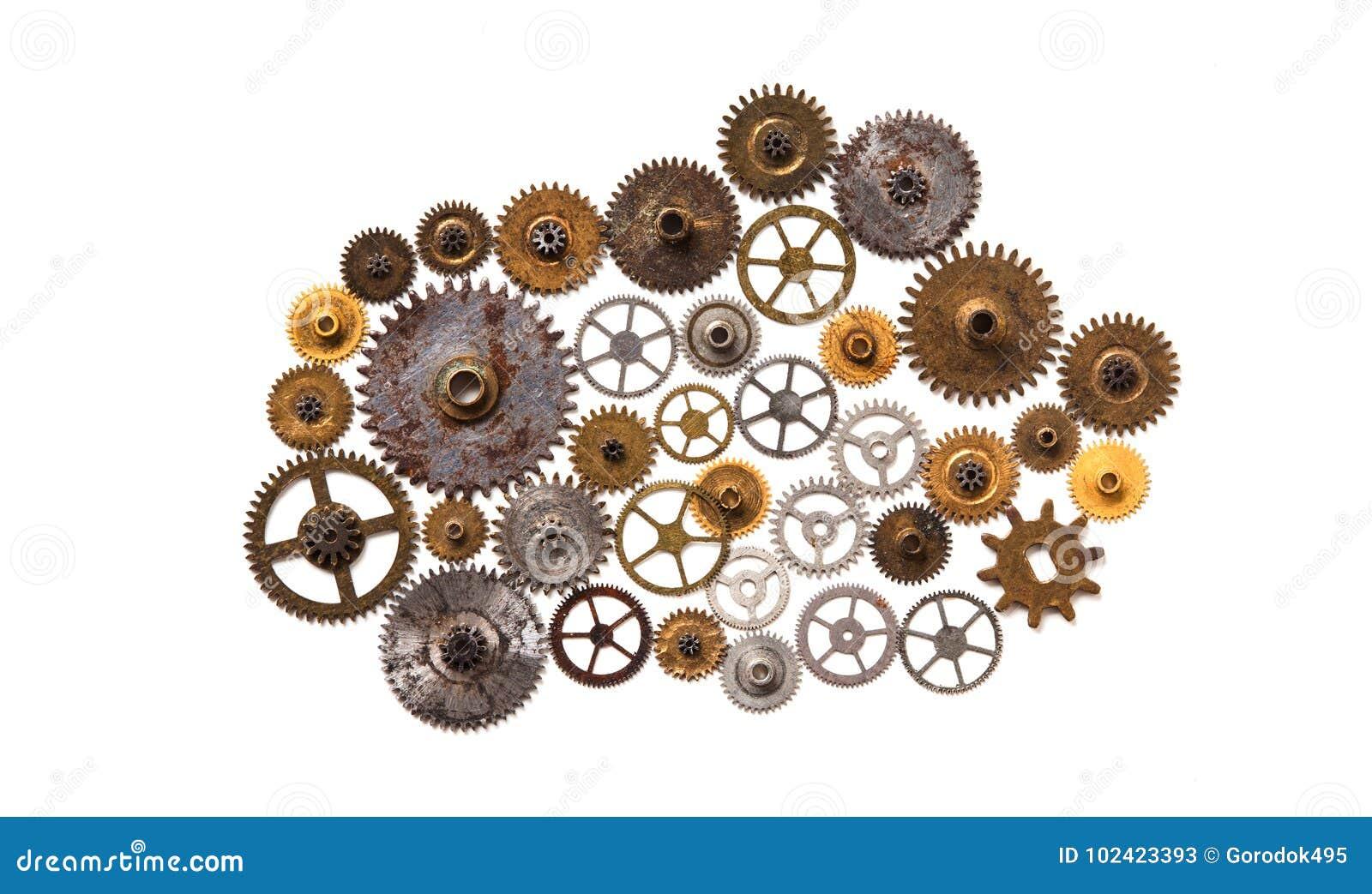 Progettazione meccanica di stile dell ornamento del macchinario di Steampunk isolata su bianco Retro concetto di natura morta di