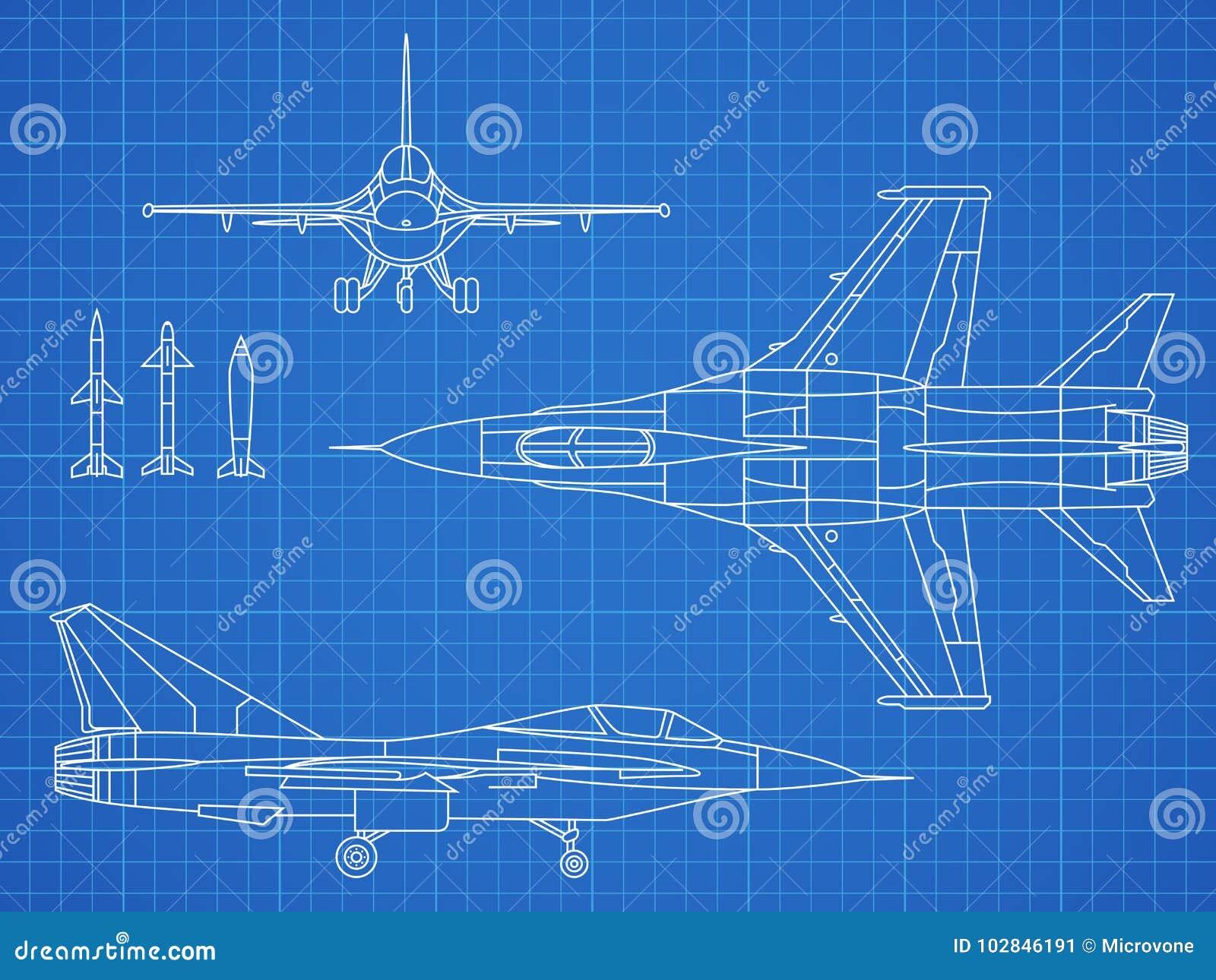 Progettazione militare del modello di vettore del disegno del jet