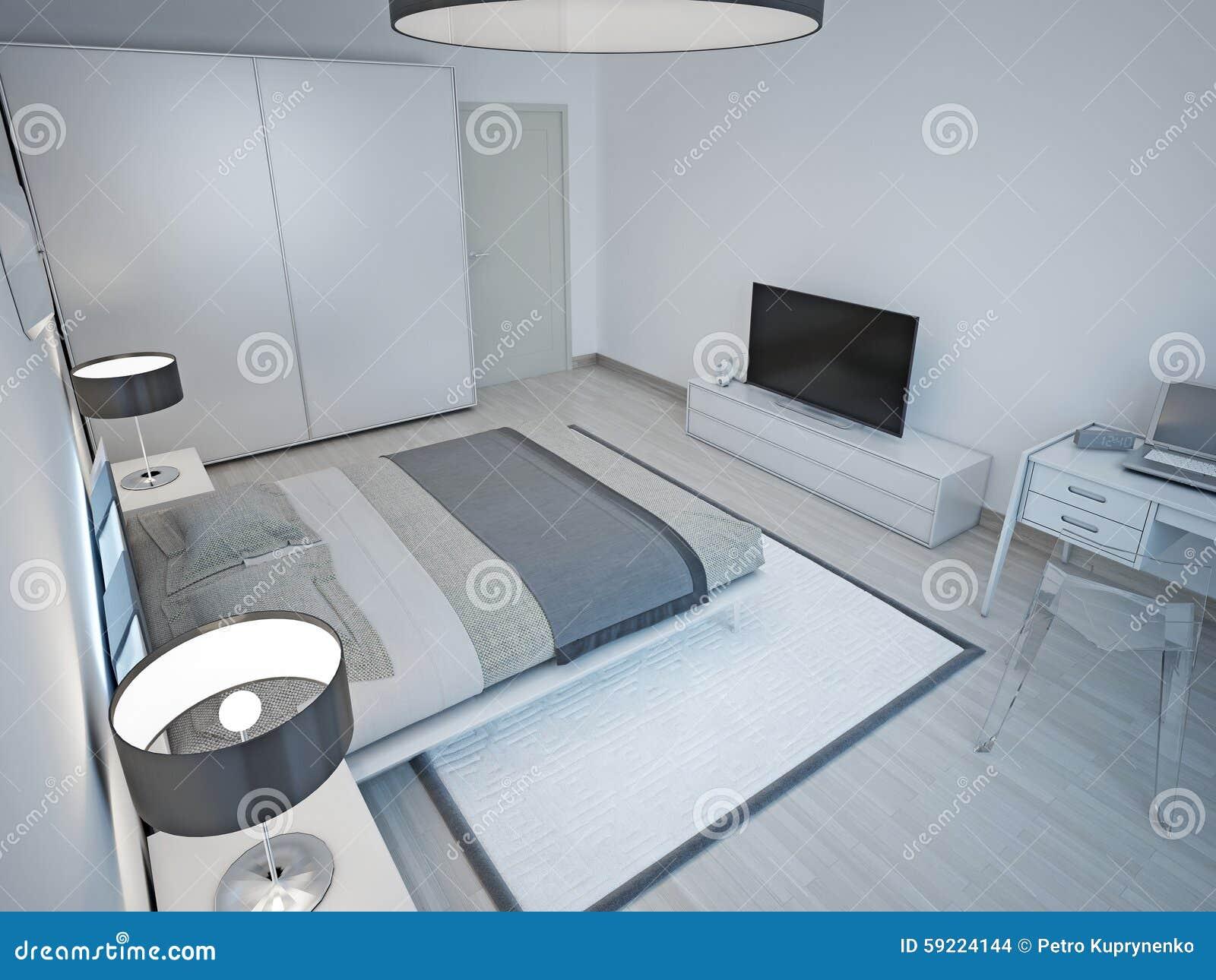 Progettazione minimalista della camera da letto grigio for Letto minimalista