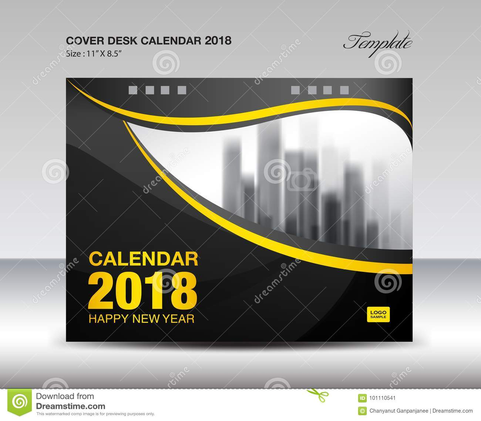 Progettazione nera e gialla del calendario da scrivania 2018 della copertura, modello dell aletta di filatoio