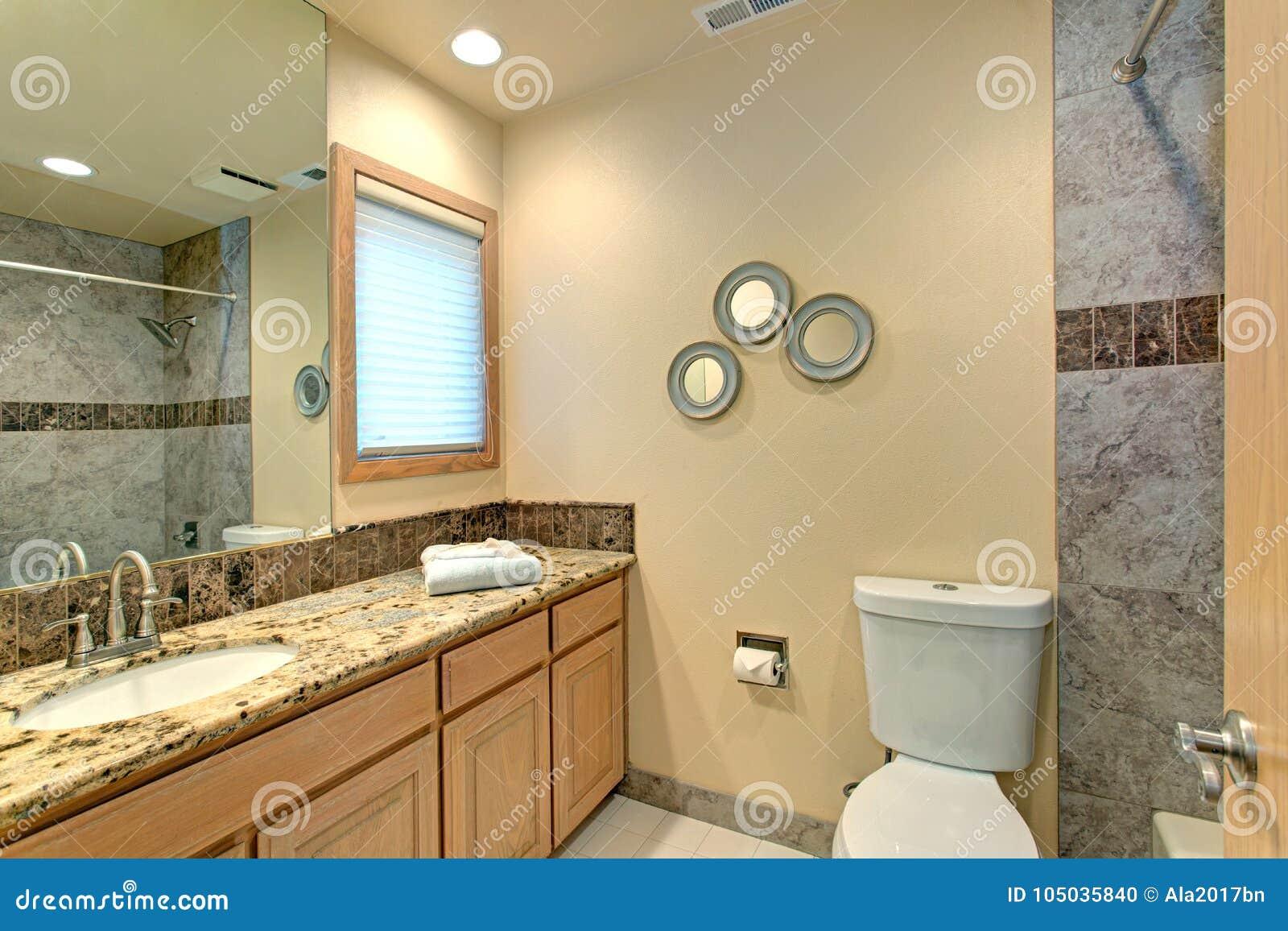 Progettazione neutrale del bagno con le mattonelle di marmo verdi