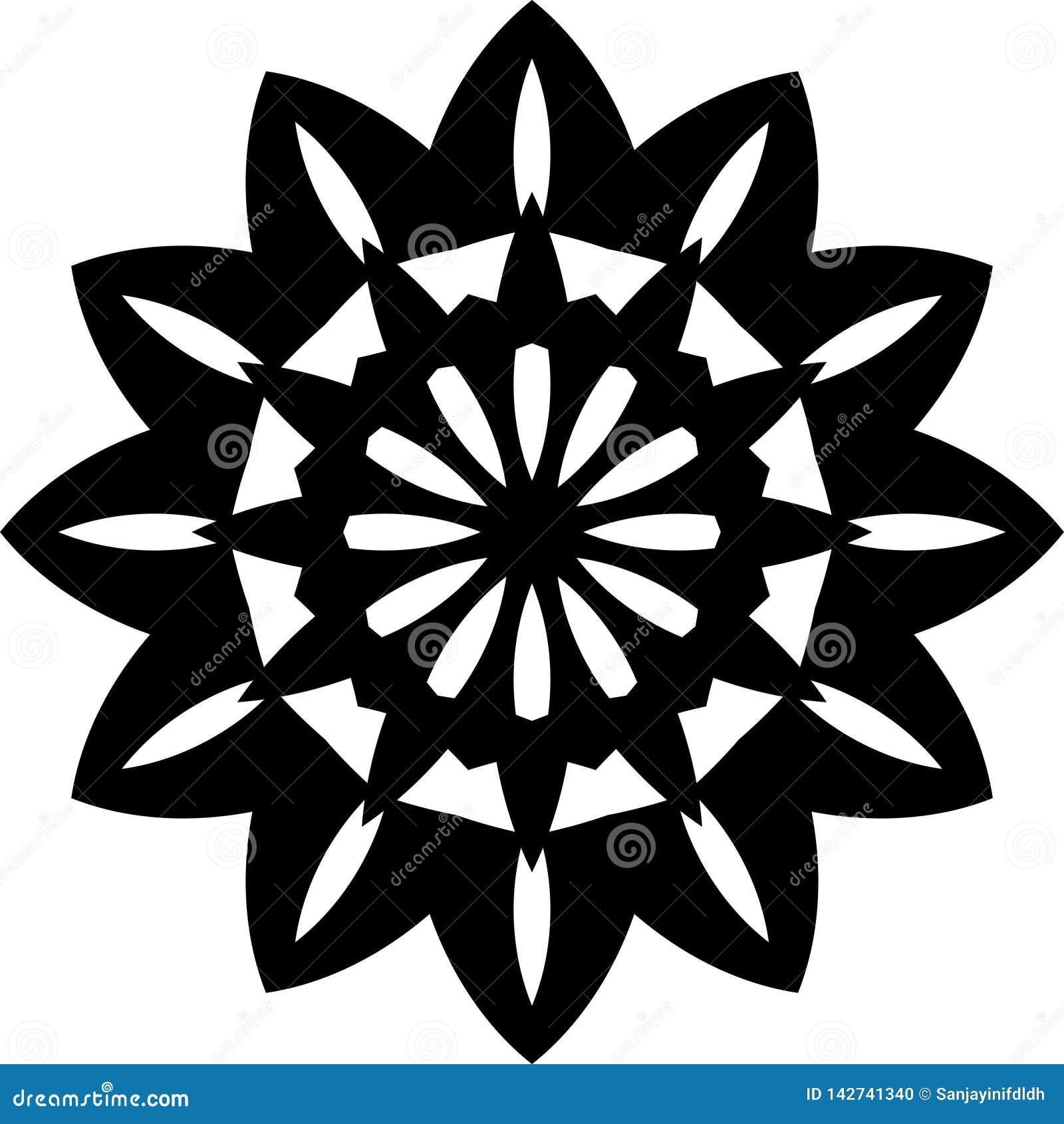 Progettazione o modello geometrica della mandala del girasole in bianco e nero di vettore