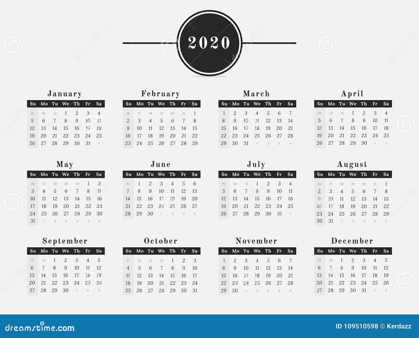 Calendario 2020 Orizzontale.Progettazione Orizzontale Del Calendario Da 2020 Anni