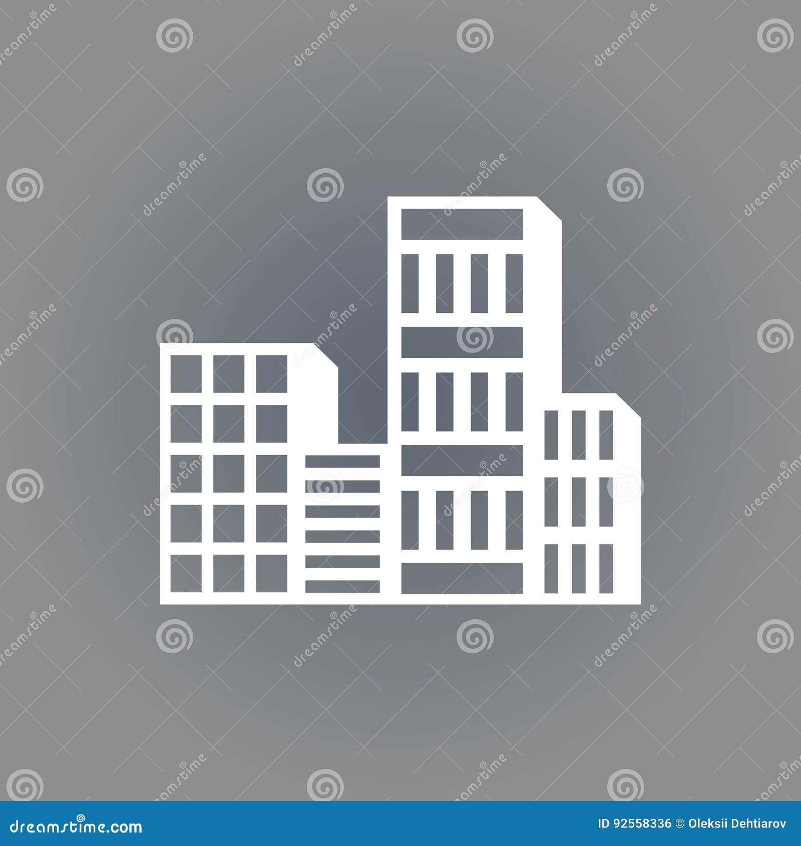 Progettazione piana dell illustrazione di vettore delle azione dell icona della città