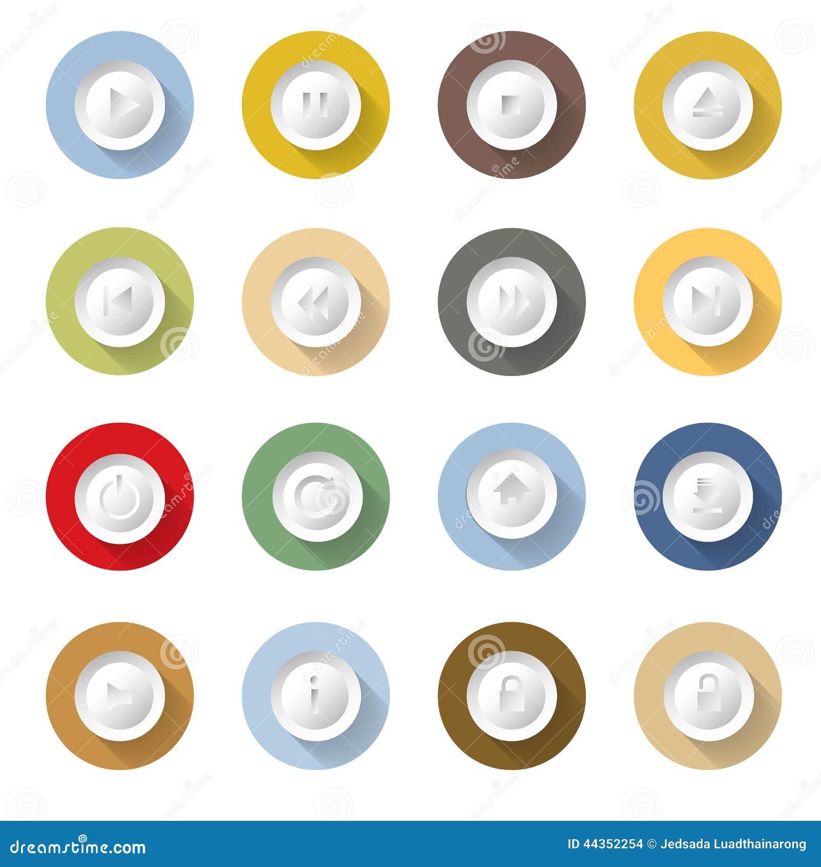 Progettazione piana dell illustrazione di vettore fissata icone di Media Player