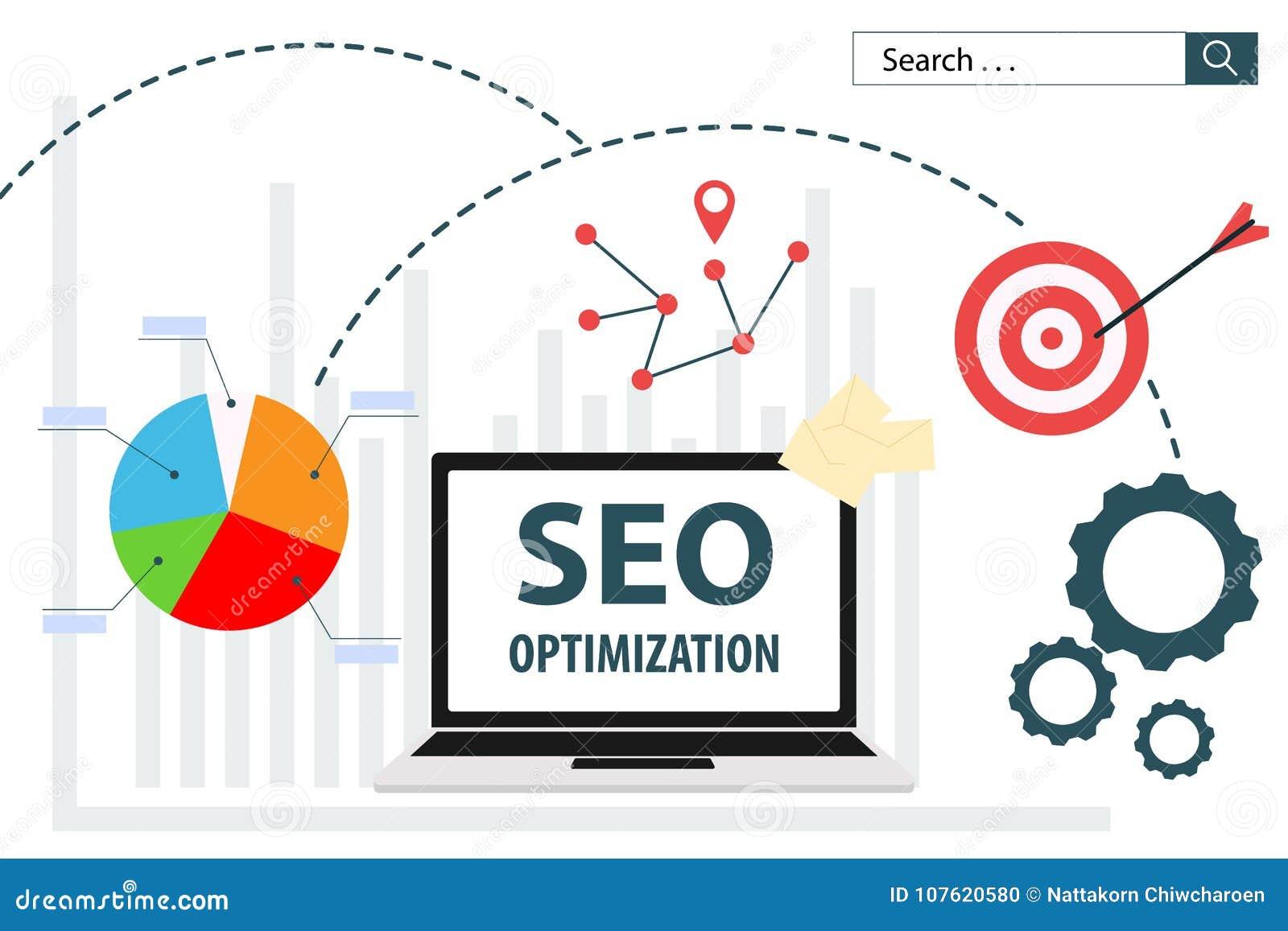 Progettazione piana di analisi dei dati di web dell illustrazione di vettore di SEO Optimization