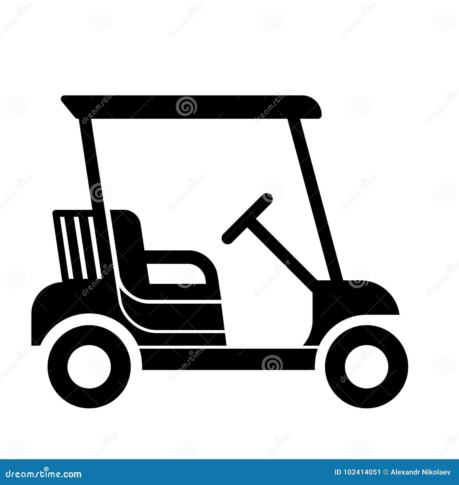 Progettazione piana di vettore di golf dell icona piacevole del carretto