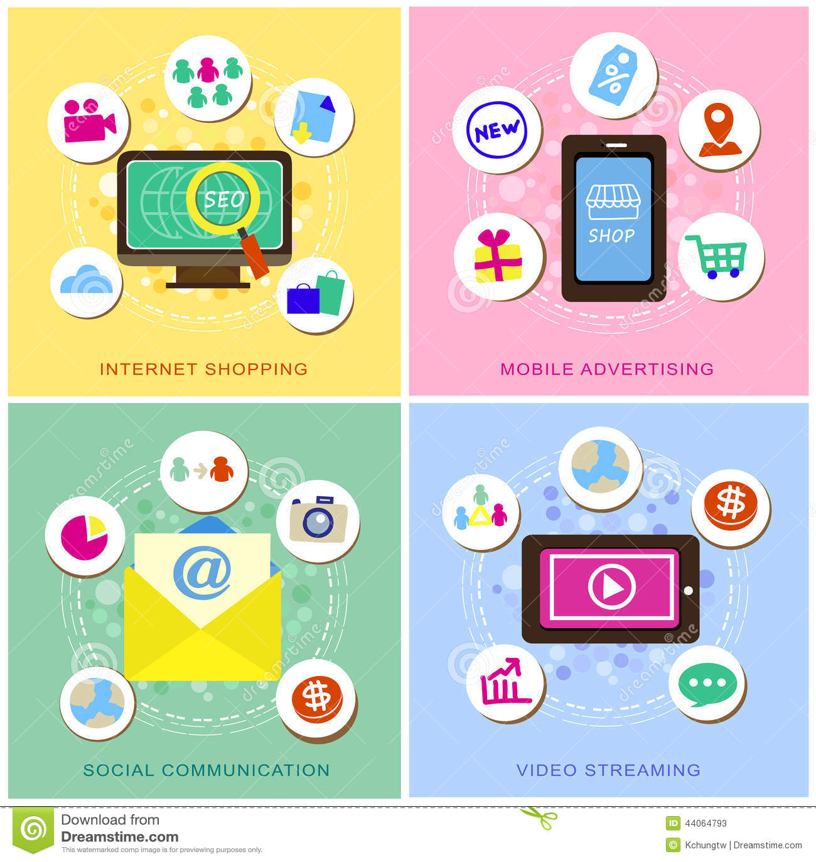 Progettazione piana per le icone di commercio elettronico messe