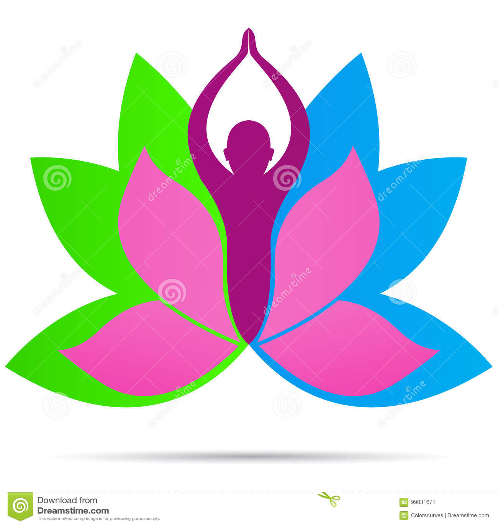 Progettazione sana dell icona di vettore di simbolo di vita di forma fisica di benessere di logo della gente di yoga di Lotus
