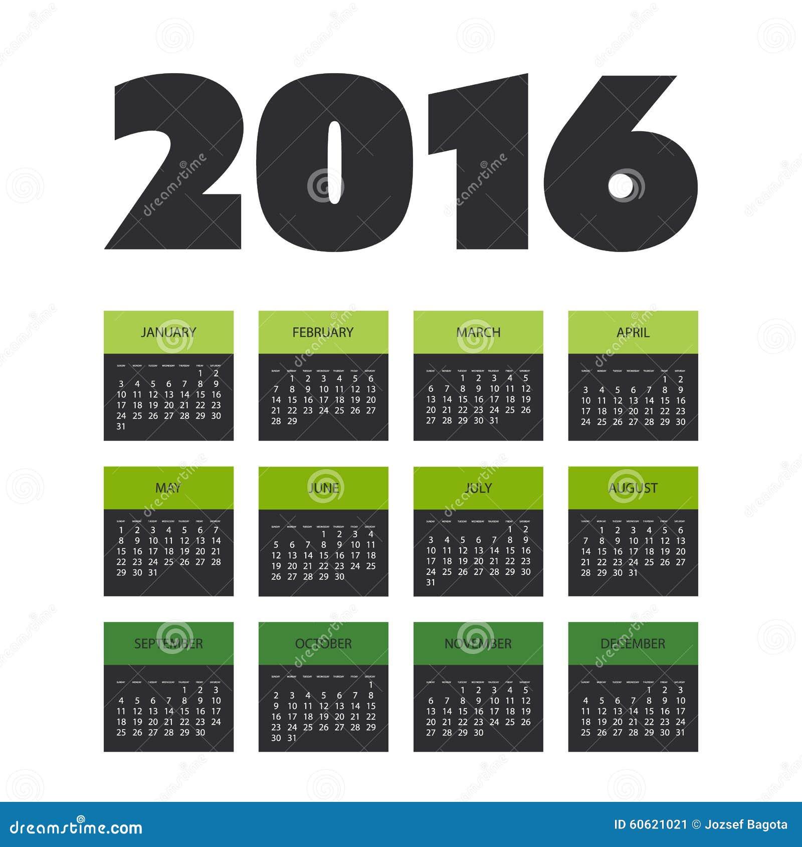 Calendario 365.Progettazione Semplice Del Calendario Per L Anno 2016 Illustrazione