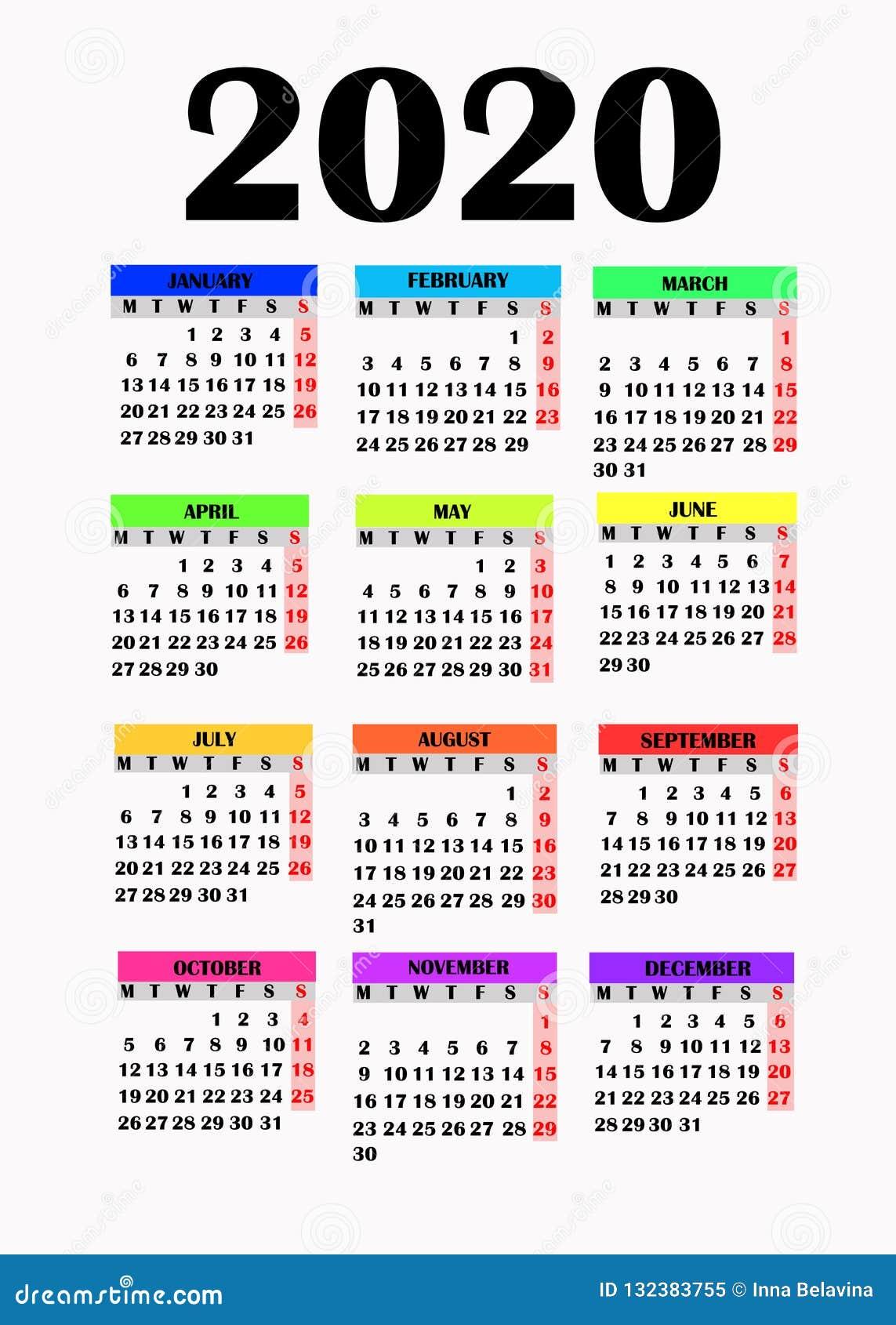 Settimane Calendario 2020.Progettazione Semplice Per Il Calendario 2020 Illustrazione