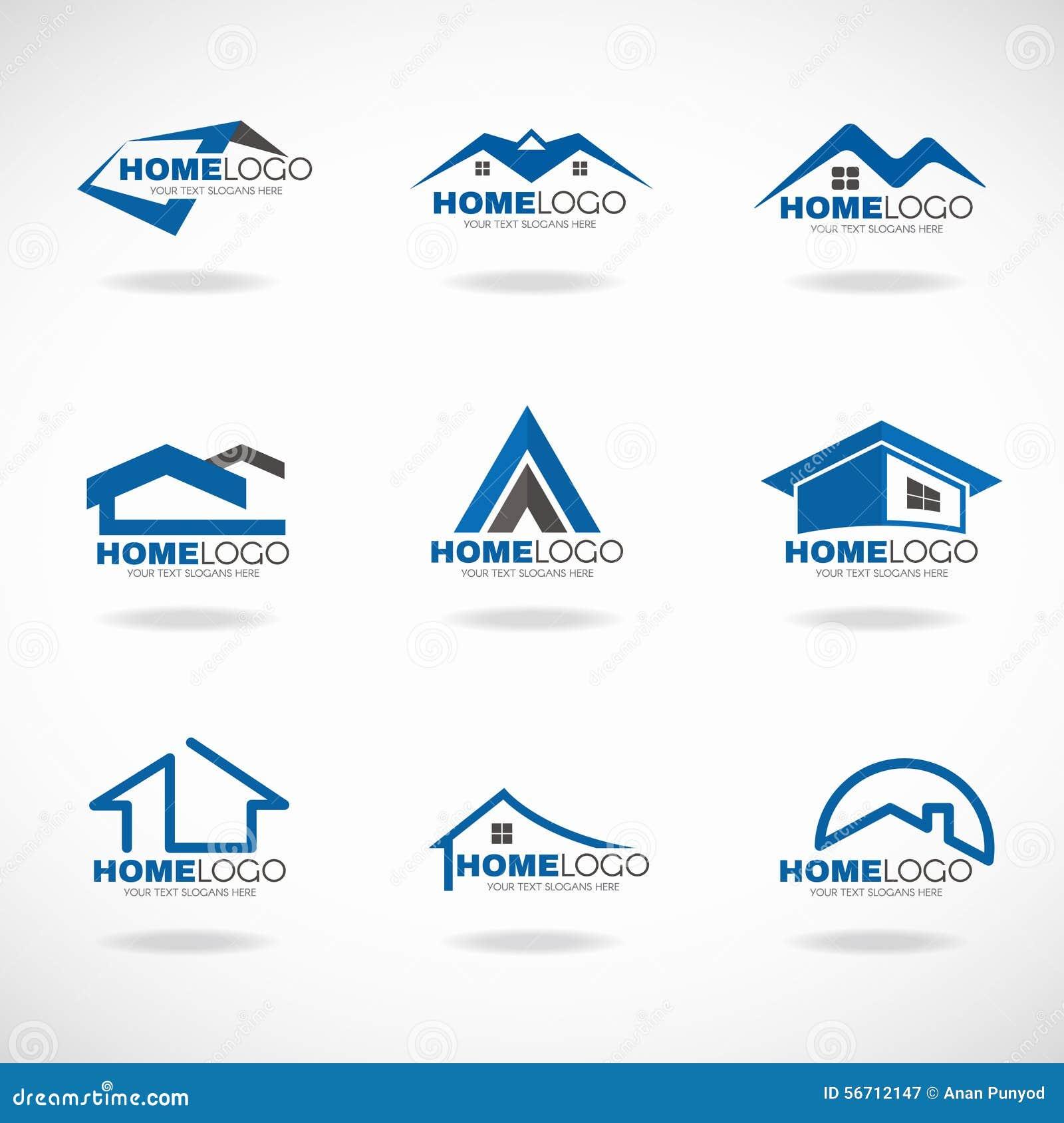 Progettazione stabilita di vettore di logo domestico blu e grigio