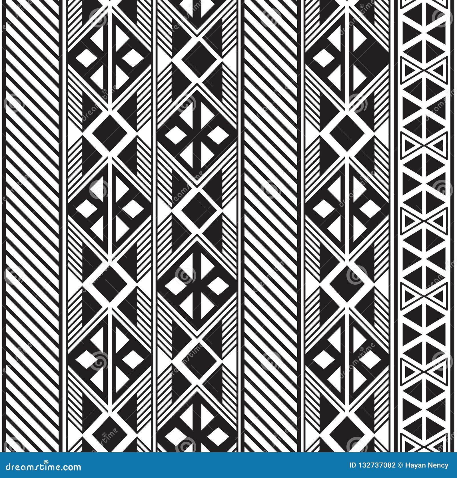 Progettazione tribale senza cuciture del modello in bianco e nero