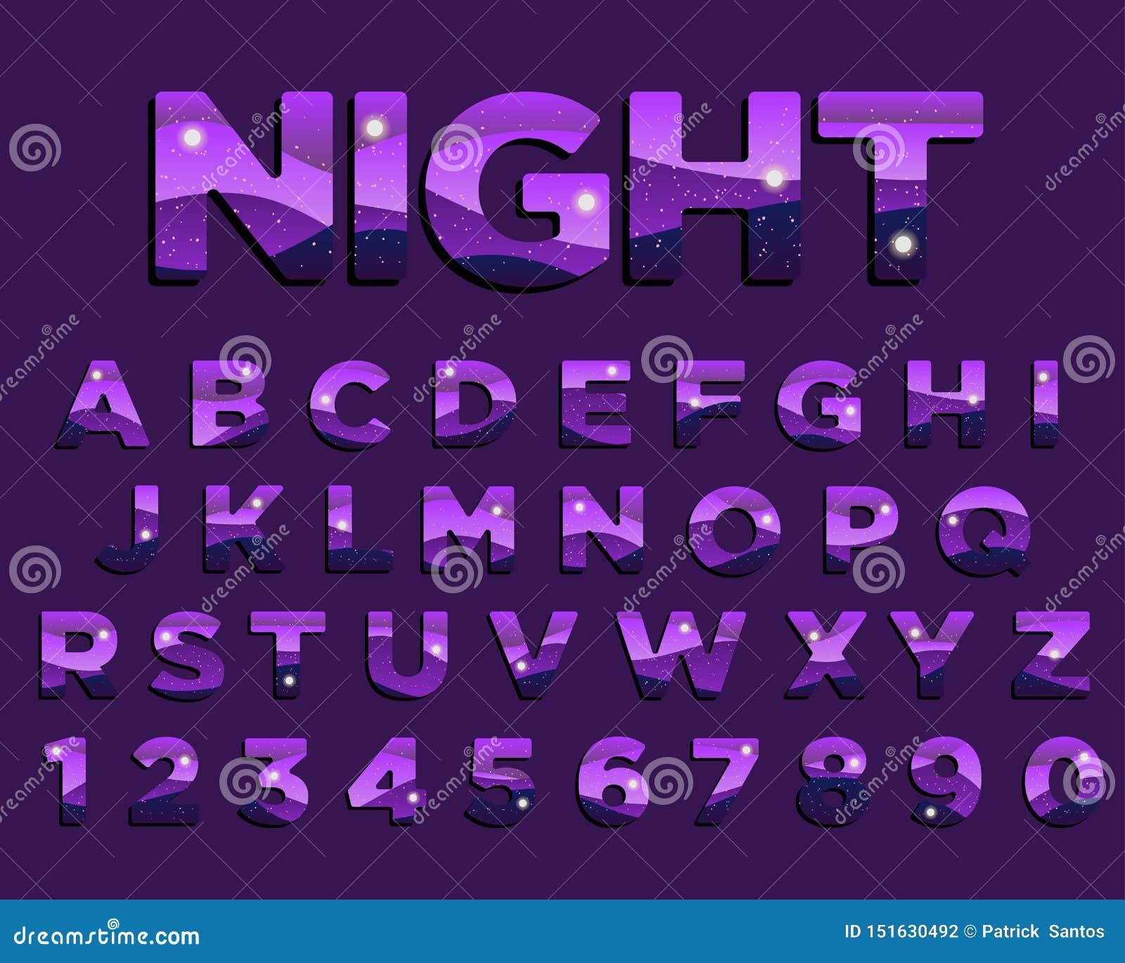 Progettazione variopinta di tipografia di porpora astratta di notte