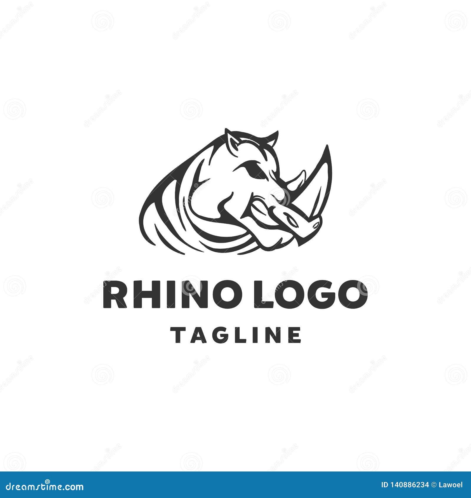 Progettazioni di logo del rinoceronte, fauna selvatica animale