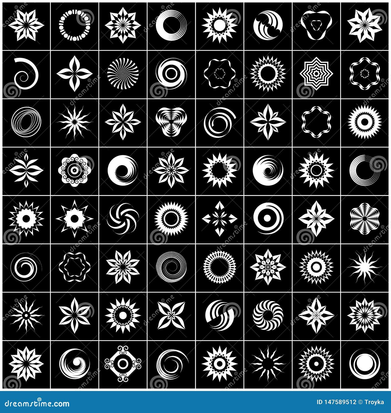 Progetti l insieme di elementi 64 icone bianche astratte su fondo nero