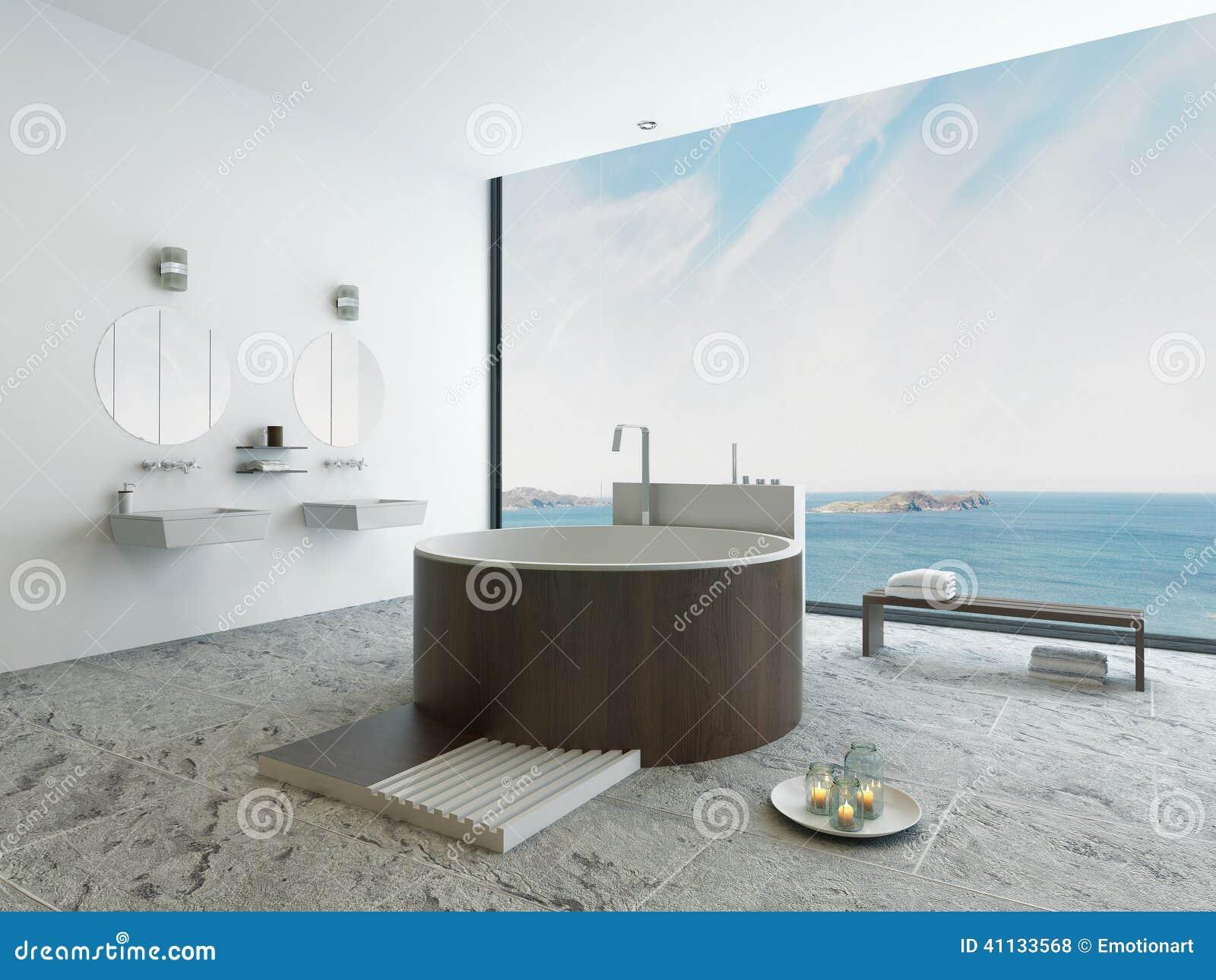 Vasca Da Bagno Rotonda Da Incasso : Progetti l interno del bagno con la vasca di legno rotonda moderna