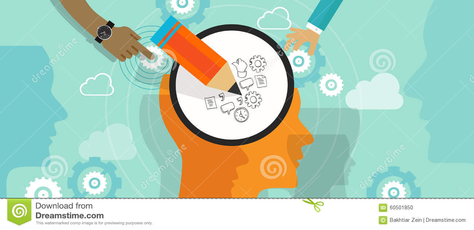 Progetti scarabocchiare da sinistra a destra di pensiero di idea della testa di creatività del cervello trattato creativo di ment
