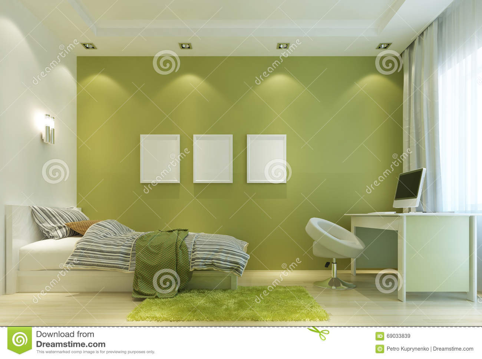 Progetti una stanza del bambino in uno stile contemporaneo, con un letto e una a