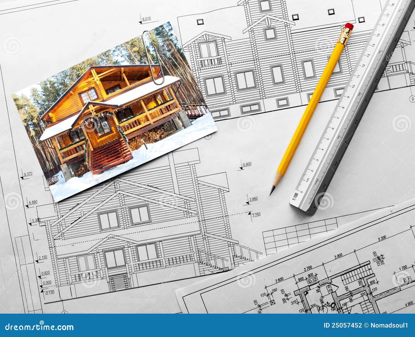 Progetto architettonico del palazzo di legno fotografia for Progetto domestico