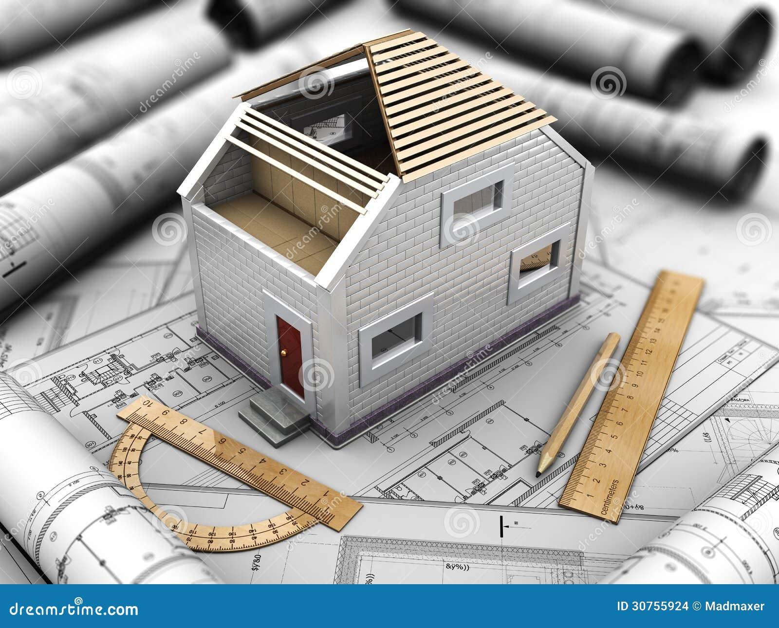 progetto architettonico della casa illustrazione di stock