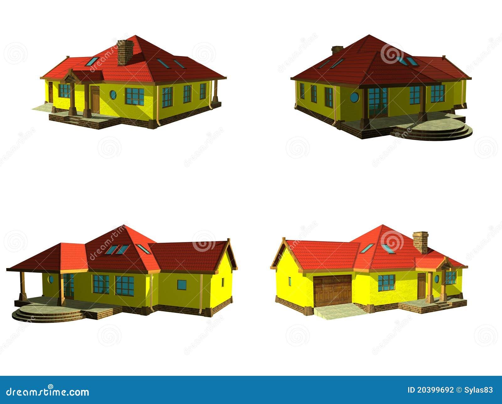 Progetto della casa 3d isolato su bianco fotografia stock for Progetto 3d casa