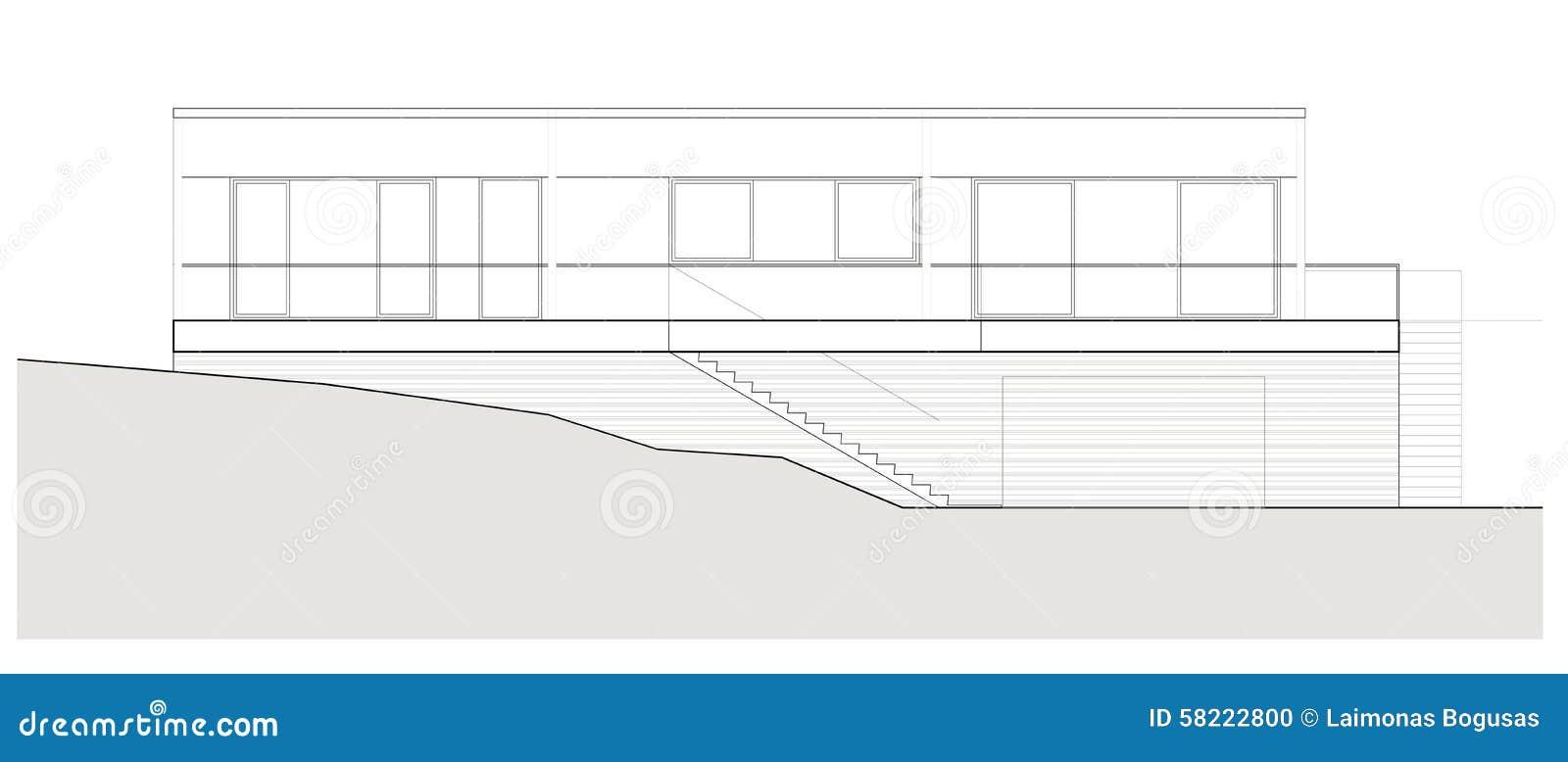 Progetto della casa unifamiliare illustrazione di stock for Progetto costruzione casa