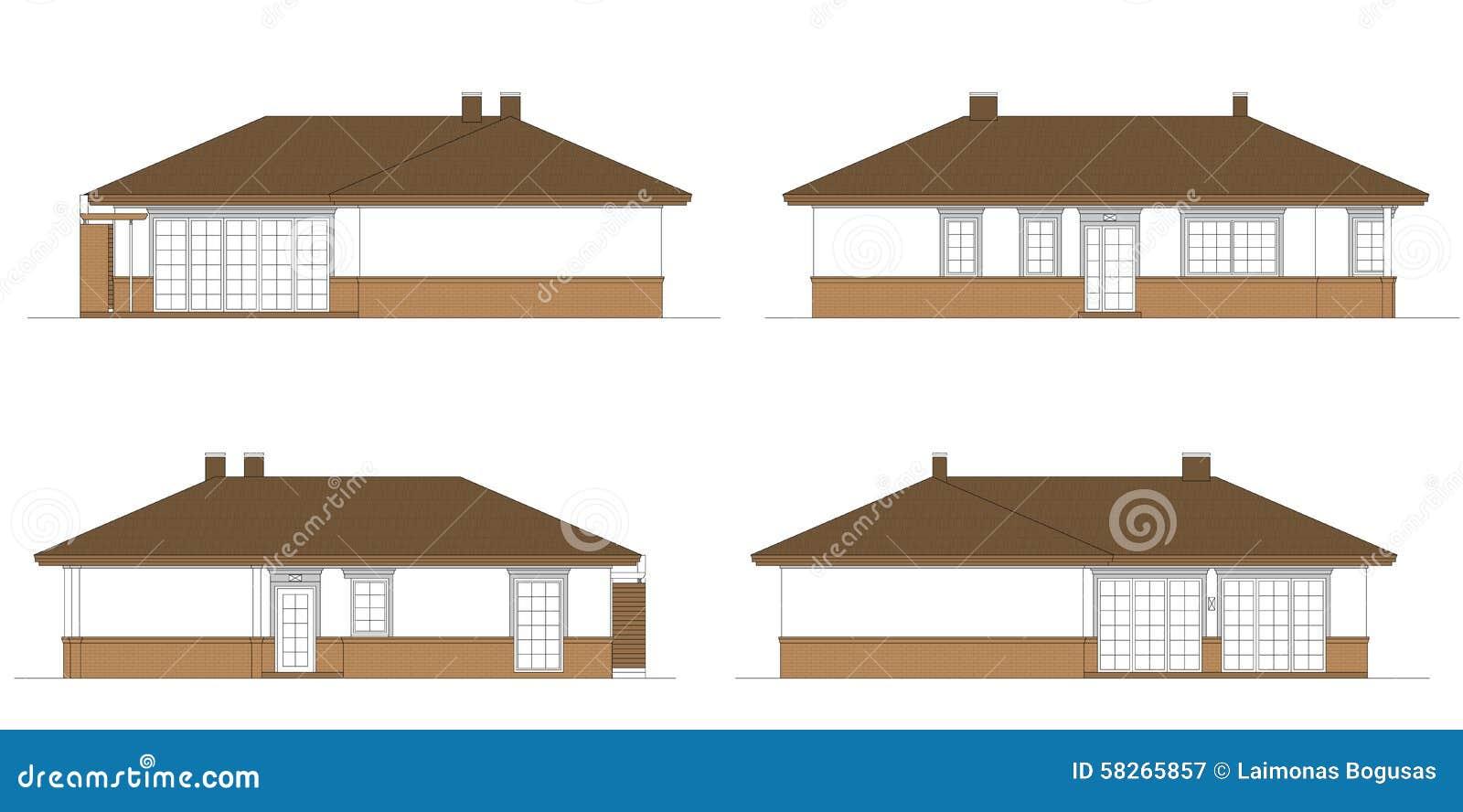 progetto della casa unifamiliare illustrazione di stock