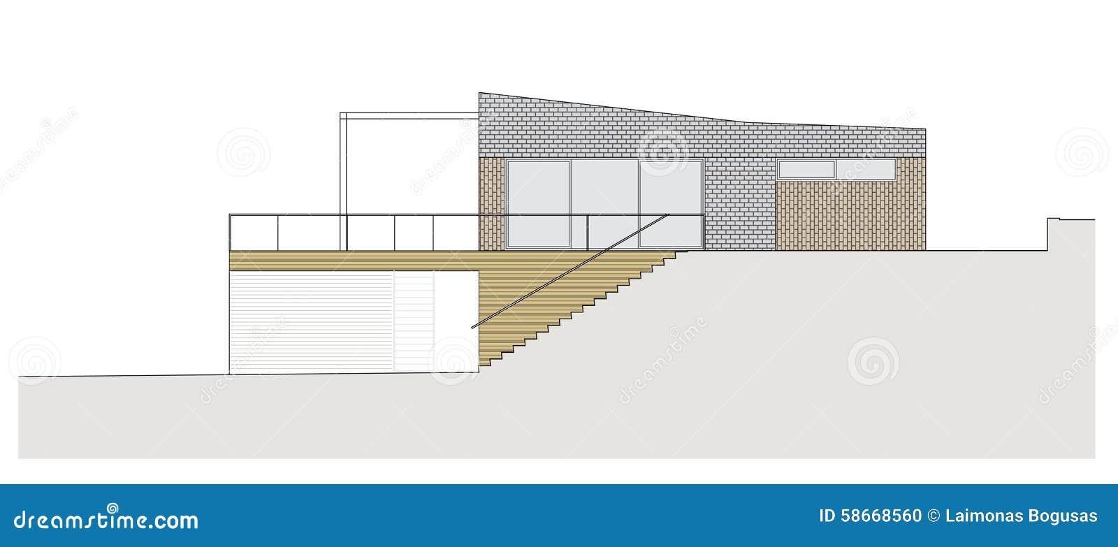 Progetto della casa unifamiliare illustrazione di stock illustrazione di courtyard concetto - Progetto completo casa unifamiliare ...