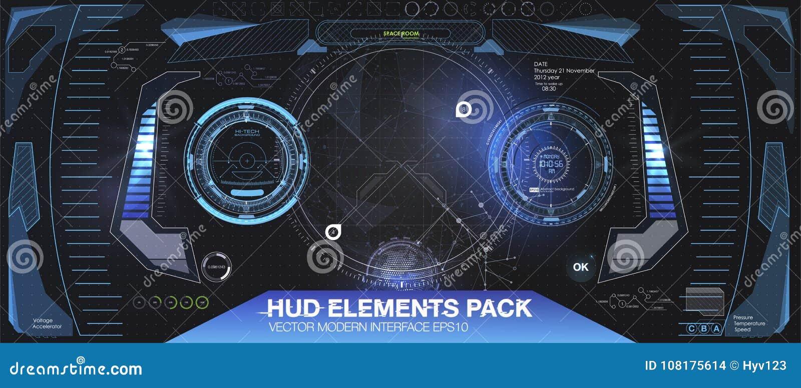 Progetto di visualizzazione agile futuristico di VR Casco HUD di fantascienza Progettazione futura di tecnologia