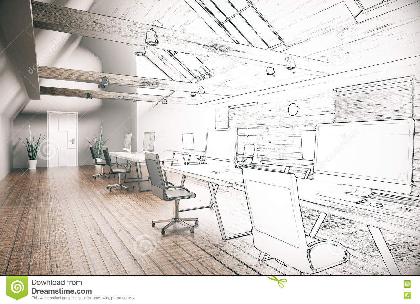 Progetto non finito dell 39 ufficio di coworking for Disegni di uffici di garage