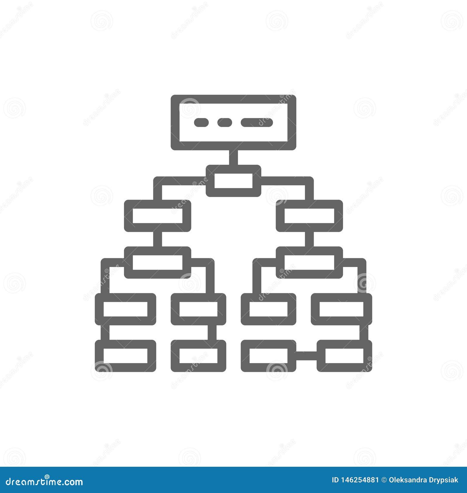 Program algorithm, flowchart plan, workflow mindmap line icon.