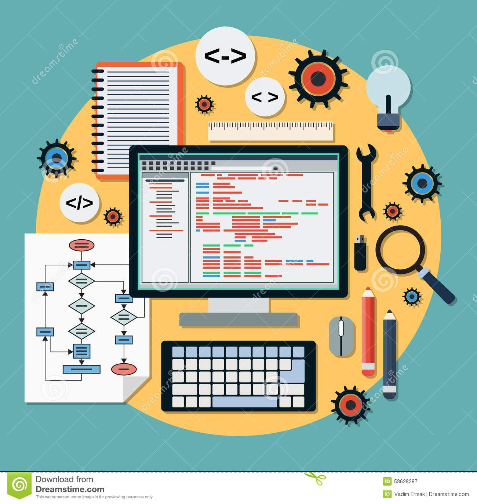 Program Coding Vector Concept Stock Vector Image 53628287