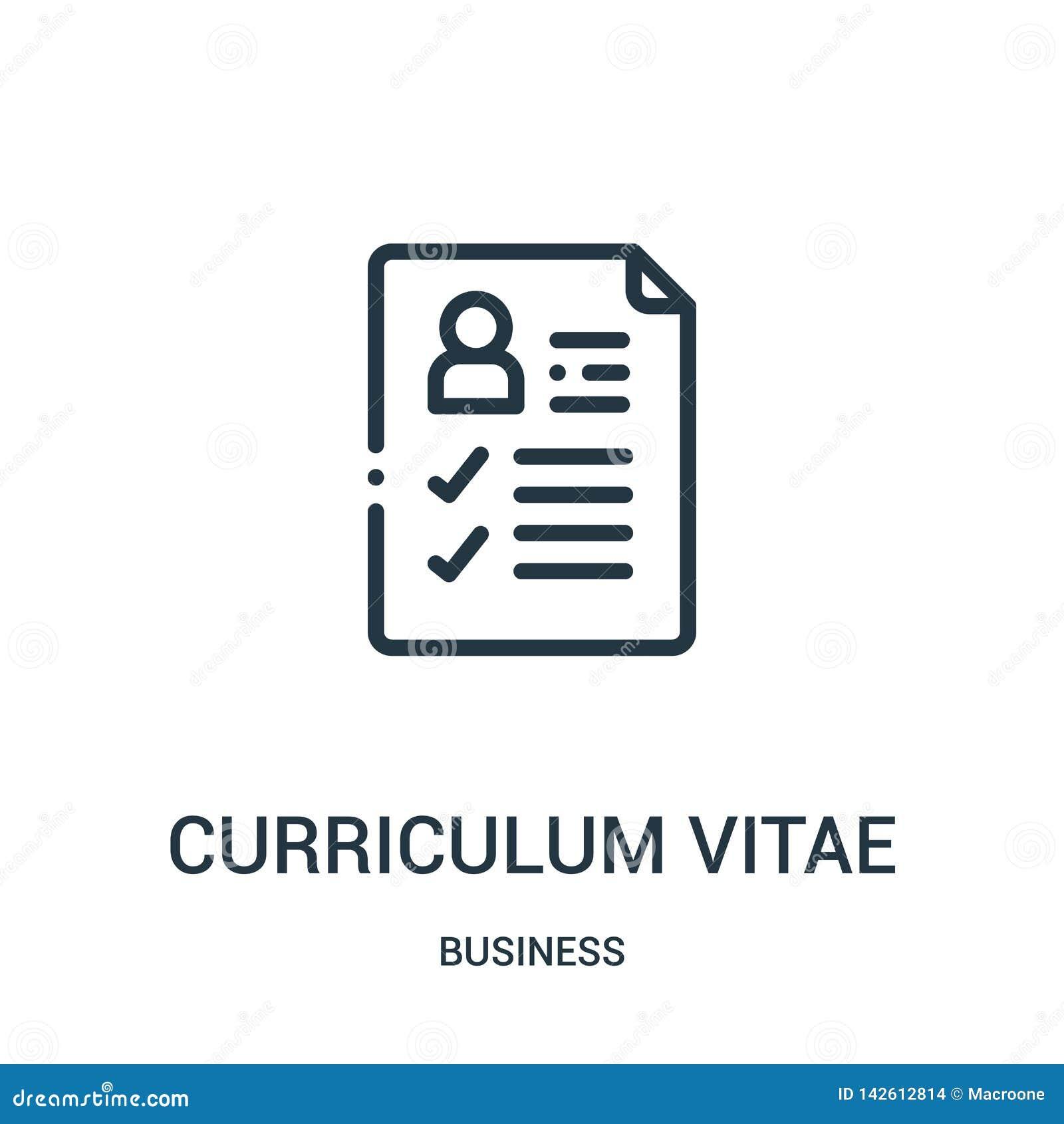 Program nauczania - vitae ikony wektor od biznesowej kolekcji Cienki kreskowy program nauczania - vitae konturu ikony wektoru ilu