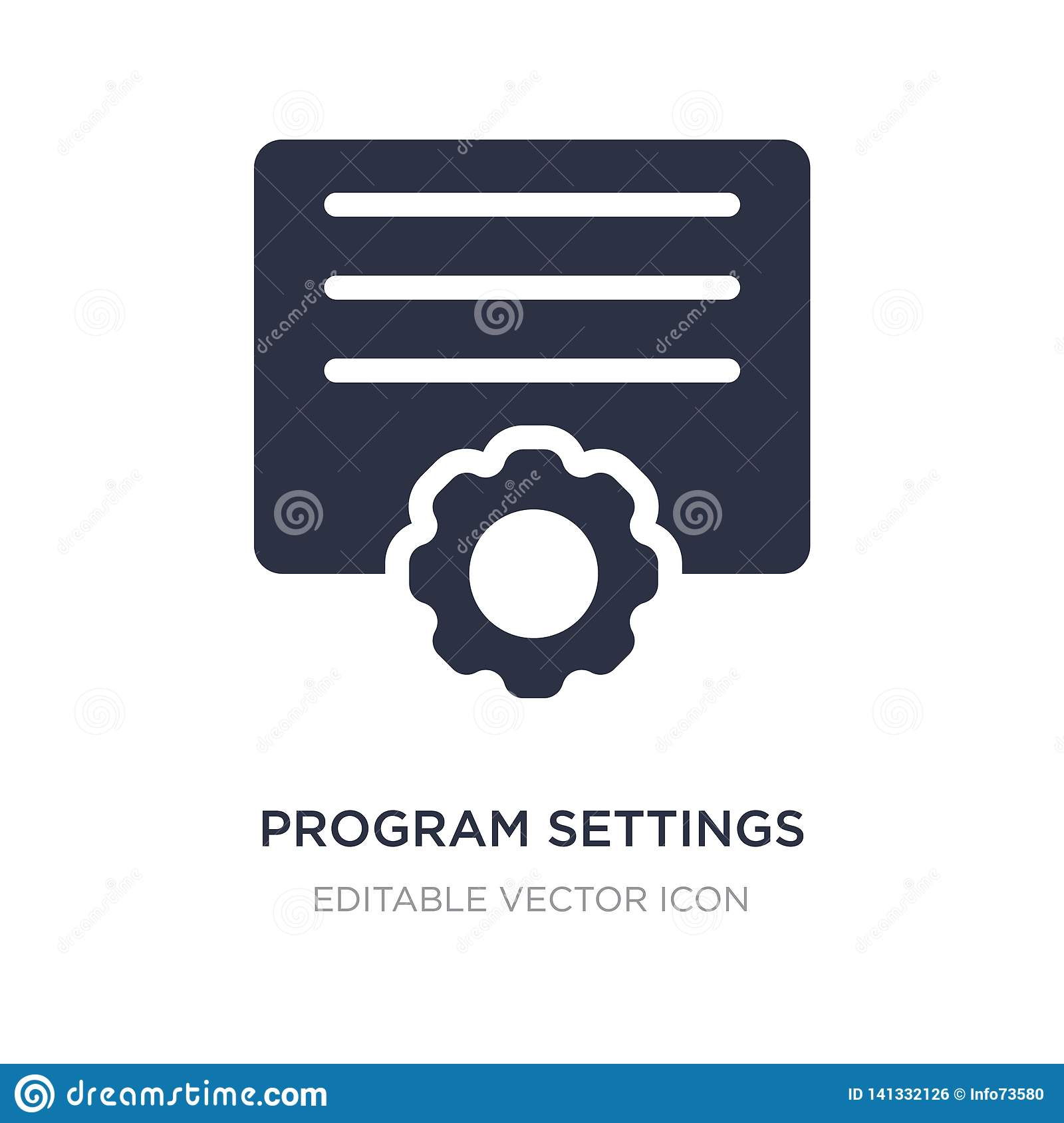 Program Settings Icon On White Background  Simple Element