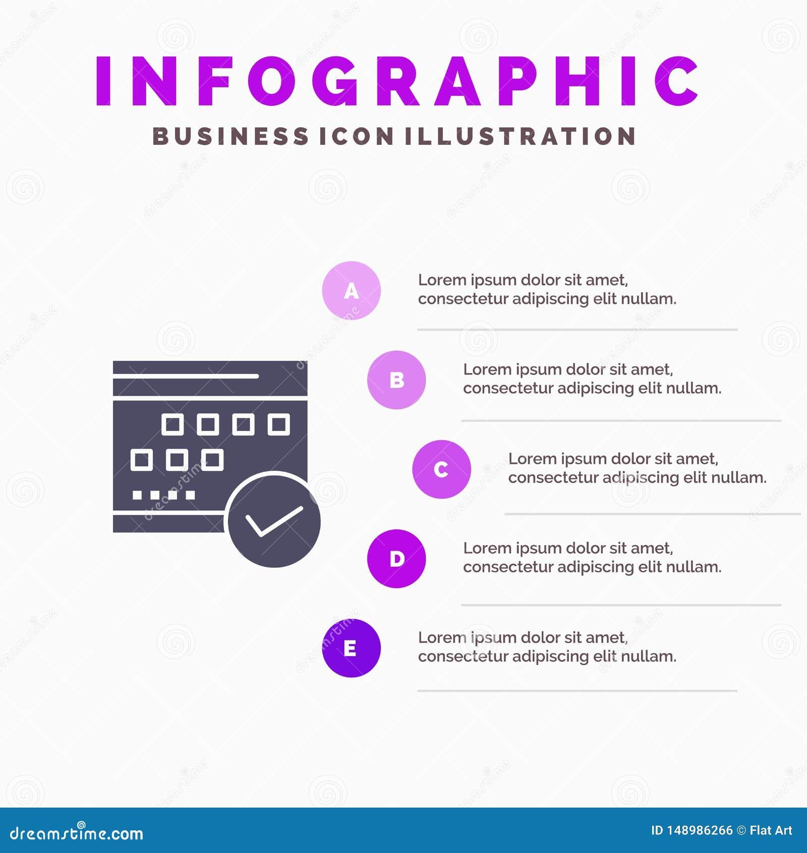 Programação, aprovada, negócio, calendário, evento, plano, fundo contínuo da apresentação das etapas de Infographics 5 do ícone d