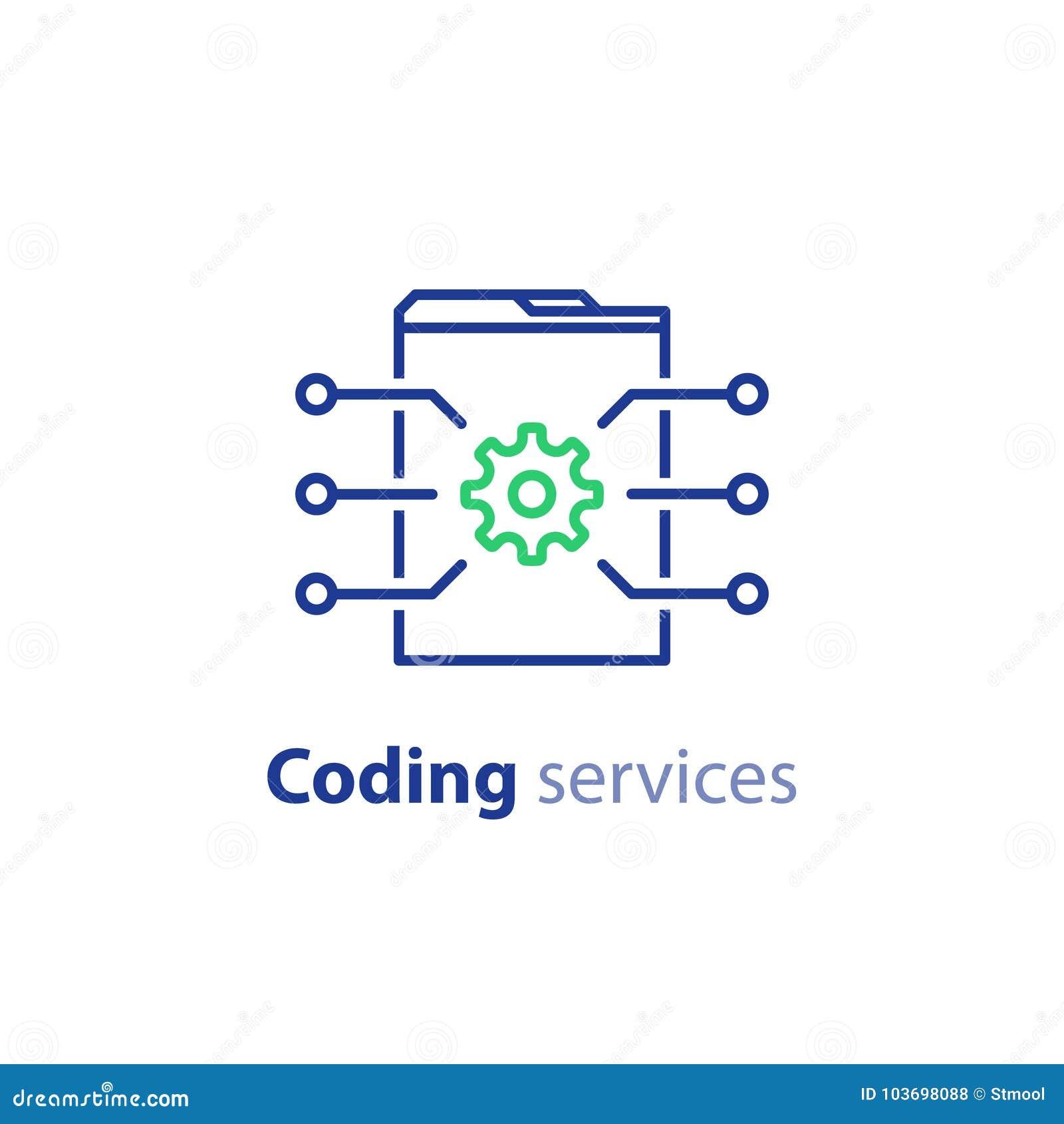 Programação de software, tecnologia do Internet, codificando serviços, conceito da inovação, projeto da site, a administração, íc