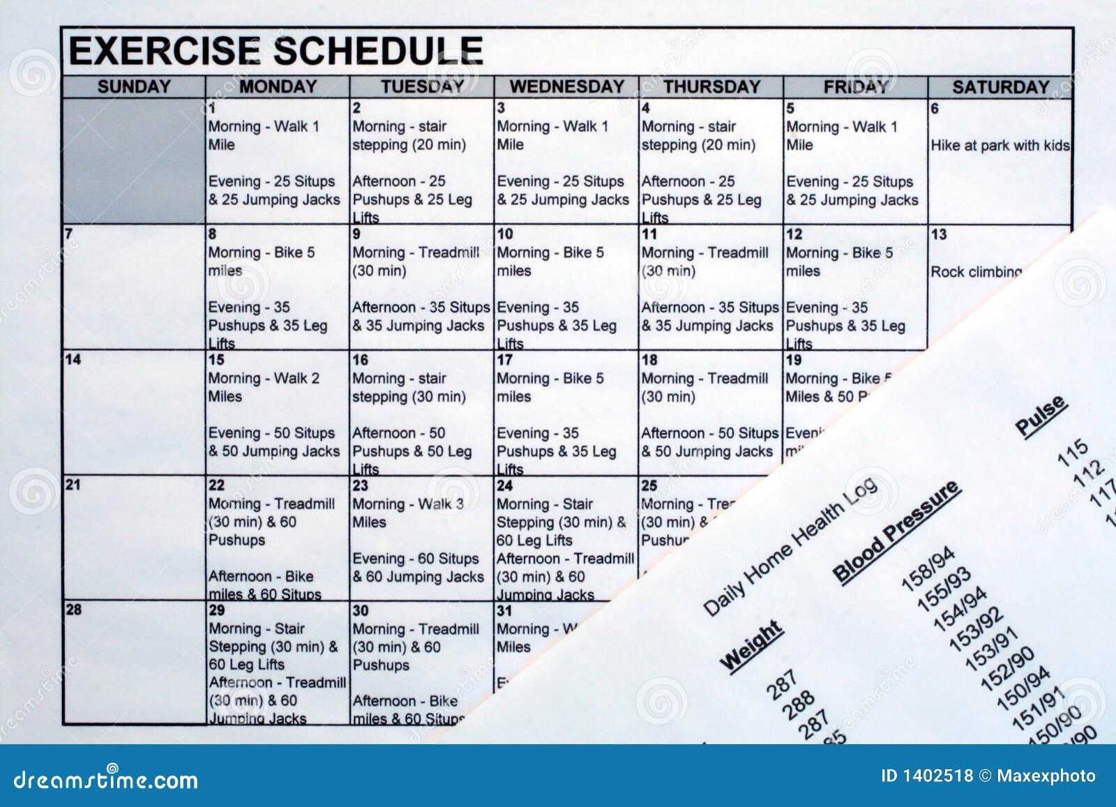 Programação do exercício & carta da saúde