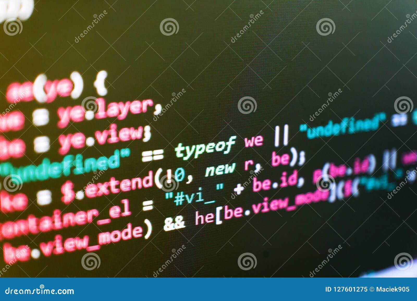 Programación del sitio web de Internet Concepto del ciberespacio de la codificación Programador Developer Screen