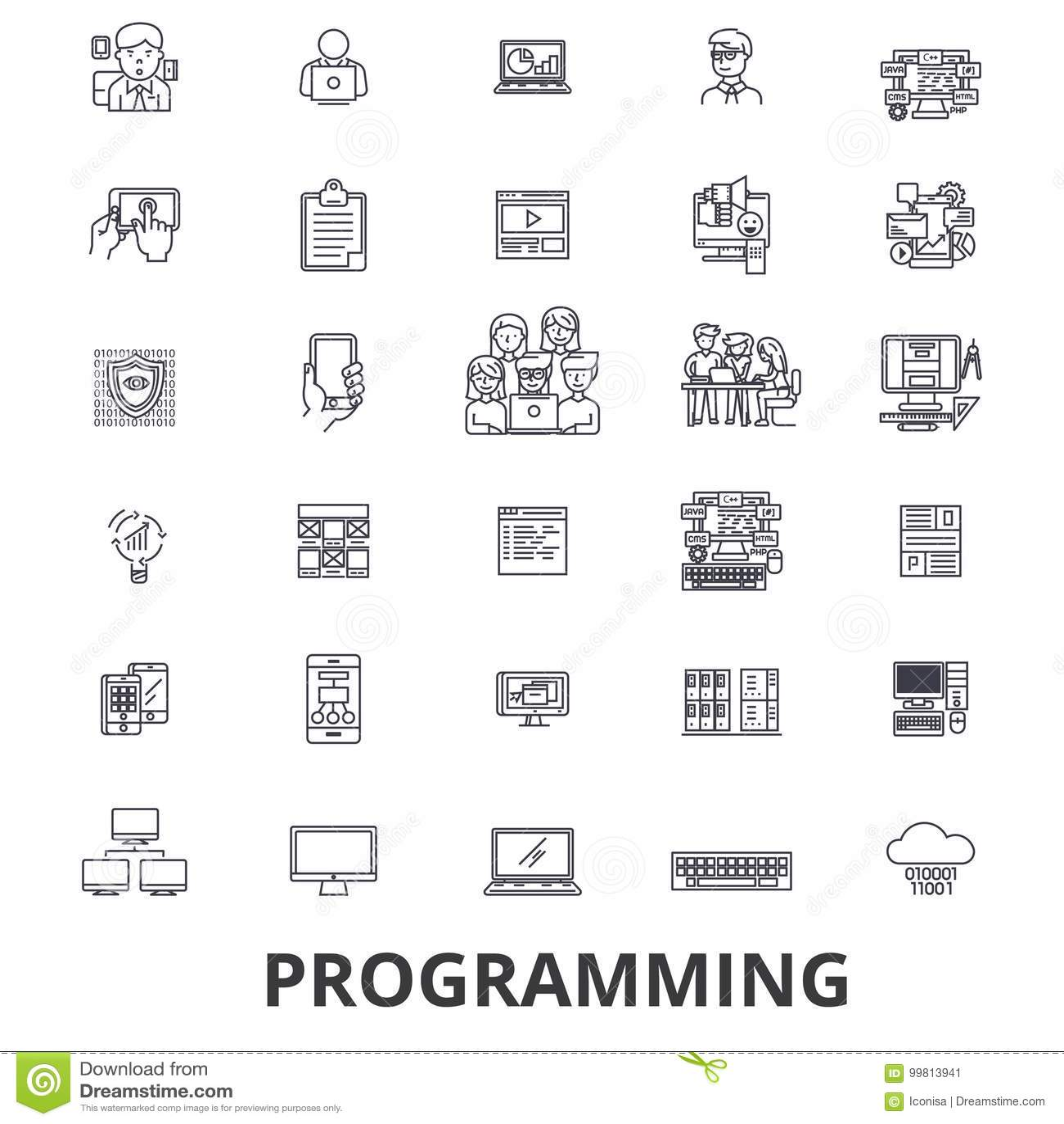 Programando, programador, código, ordenador, software, desarrollo, línea iconos del uso Movimientos Editable Diseño plano
