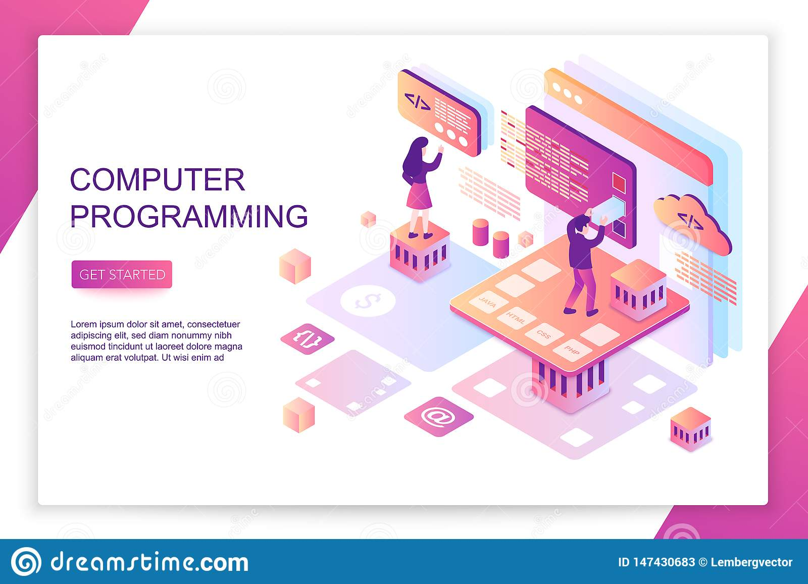Programas informáticos que programan, codificación, desarrollo de la parte frontal, plantilla isométrica moderna de la página del