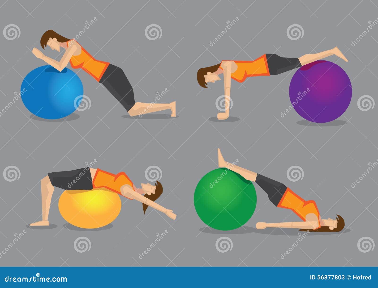 Programma di forma fisica con l illustrazione di vettore della palla di esercizio
