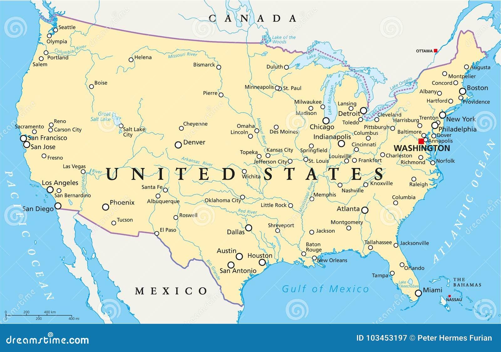 Cartina Degli Stati Uniti Politica.Programma Politico Degli Stati Uniti D America Illustrazione Vettoriale Illustrazione Di Houston North 103453197