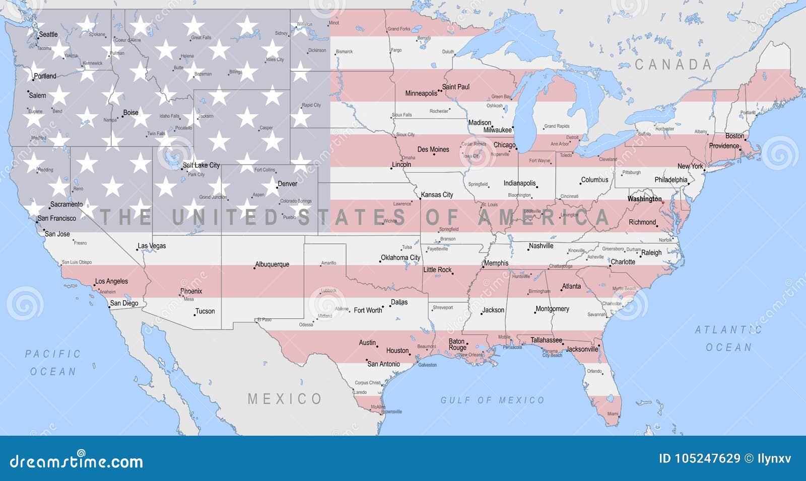 Cartina Stati Uniti D America Politica.Programma Politico Degli Stati Uniti D America Illustrazione